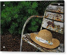 Hat On Chair1 Acrylic Print by Tom  Reed