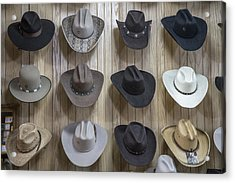 Hats On Nashville Wall In Color Acrylic Print by John McGraw