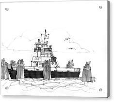 Acrylic Print featuring the drawing Hatteras Ferry by Richard Wambach