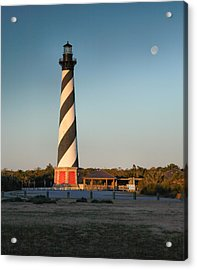 Hatteras Lighthouse And Moon Acrylic Print by Steven Ainsworth