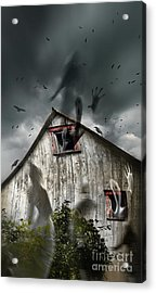 Haunted Barn With Ghosts Flying And Dark Skies Acrylic Print by Sandra Cunningham