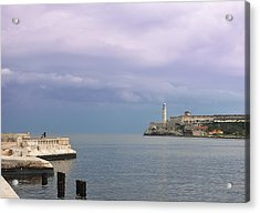 Havana Malecon With Morro Lighthouse And A Lonely, Unrecognizable Person Relaxing By The Sea, Cuba Acrylic Print by Smartshots International
