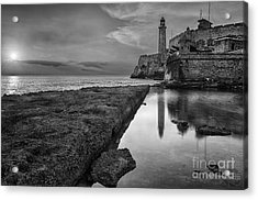 Havana Sunset Black And White Acrylic Print