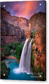 Havasu Falls Acrylic Print by Inge Johnsson