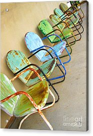 Have A Seat Rusty Chairs Acrylic Print