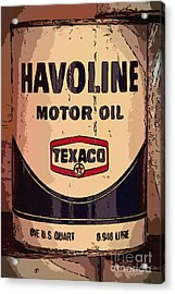 Havoline Motor Oil Can Acrylic Print by Carrie Cranwill