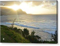 Hawaii - Bali Hai Sunset Acrylic Print by Greg Cross