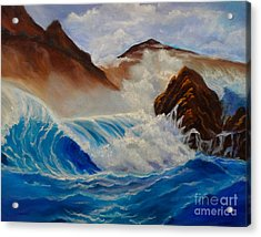 Acrylic Print featuring the painting Hawaii On The Rocks by Jenny Lee