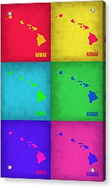 Hawaii Pop Art Map 1 Acrylic Print by Naxart Studio