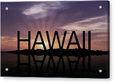 Hawaii Tropical Sunset Acrylic Print by Aged Pixel