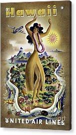 Hawaii Vintage Travel Poster Acrylic Print