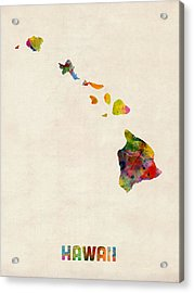 Hawaii Watercolor Map Acrylic Print