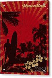 Hawaiian Vintage Surf Poster Acrylic Print