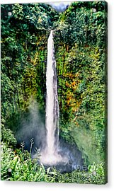 Acrylic Print featuring the photograph Hawaiian Waterfall by Adam Olsen