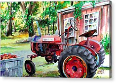 Hawk Hill Apple Tractor Acrylic Print
