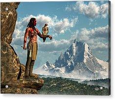 Hawk Warrior Acrylic Print by Daniel Eskridge