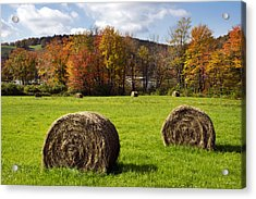 Hay Bales And Fall Colors Acrylic Print by Christina Rollo