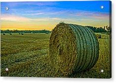 Hay Bales Before Dusk Acrylic Print