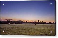 Hay Bales In A Field At Sunset Acrylic Print