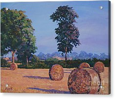 Hay-bales In Evening Light Acrylic Print by John Clark