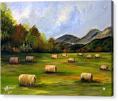 Hay Bales In Wv Acrylic Print by Dorothy Maier