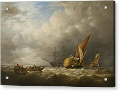 Hay Barges In The Thames Estuary Acrylic Print by Alfred Herbert