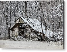 Acrylic Print featuring the photograph Hay Barn In Snow by Debbie Green