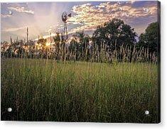 Hay Field Sunset Acrylic Print by Bill Wakeley