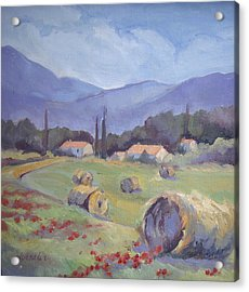 Haybales And Poppies Of Provence Acrylic Print by Linda  Wissler