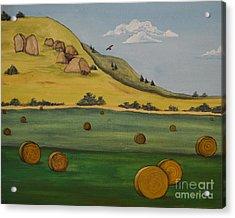 Haybales Acrylic Print by Cassandra Barnhart