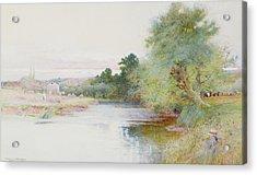 Haymaking Near Marlow Acrylic Print by Arthur Claude Strachan