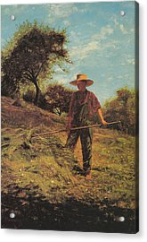 Haymaking Acrylic Print by Winslow Homer