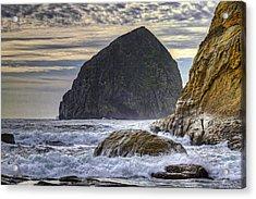 Haystack Rock At Cape Kiwanda Acrylic Print by David Gn