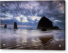 Haystack Rock At Sunset Acrylic Print by Andrew Soundarajan