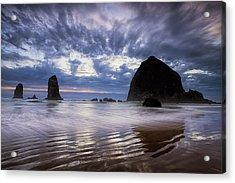 Haystack Rock At Sunset Acrylic Print