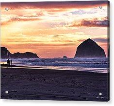 Haystack Rock Beach Walk Sunset Acrylic Print