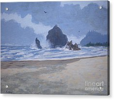 Acrylic Print featuring the painting Haystack Rock Drama by Suzanne McKay