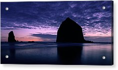 Haystack Rock Twilight Acrylic Print by Dan Mihai