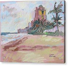 Acrylic Print featuring the painting Hazy Beach by Linda Novick