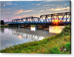 Hdr - Sunset On Lincoln Ave. Bridge  Acrylic Print