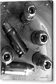 bullet art - HDR Photography of .32 Caliber Hollow Point Bullets ART 4 BW Acrylic Print