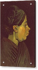 Head Of A Peasant Woman, C.1884 Oil On Canvas On Wood Panel Acrylic Print