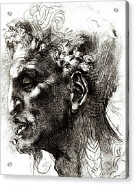 Head Of A Satyr  Acrylic Print by Michelangelo