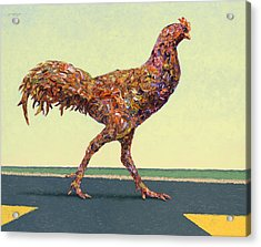 Head-on Chicken Acrylic Print by James W Johnson