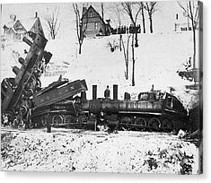 Head On Train Wreck Acrylic Print by Underwood Archives