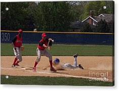 Head Slide In Baseball Acrylic Print by Thomas Woolworth