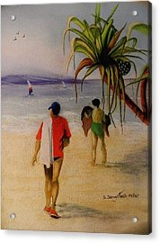 Heading For A Swim Acrylic Print by Sandra Sengstock-Miller
