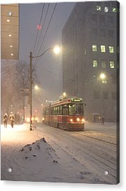 Heading Home In The Snowstorm Acrylic Print
