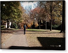 Heading To Class - Davidson College Acrylic Print by Paulette B Wright