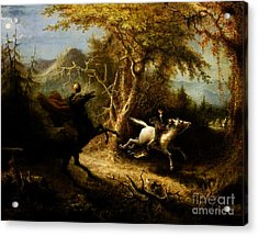 Headless Horseman Pursuing Ichabod Crane Acrylic Print by Pg Reproductions